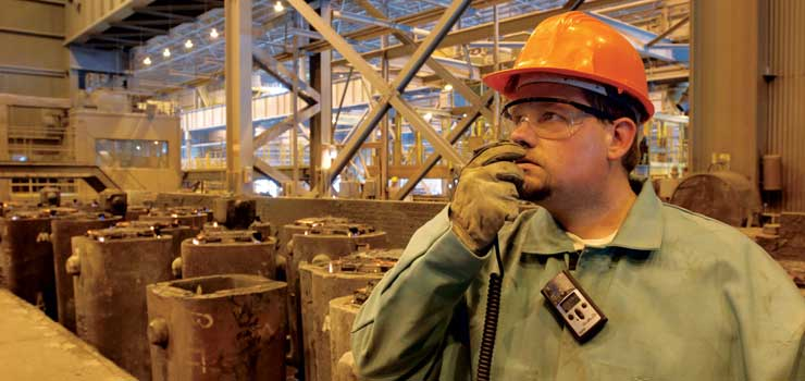 GasBadge Pro in use in a steel mill