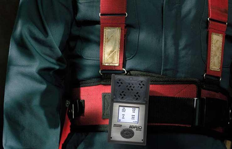 MX6 multi-gas portable gas detector on miner's belt clip
