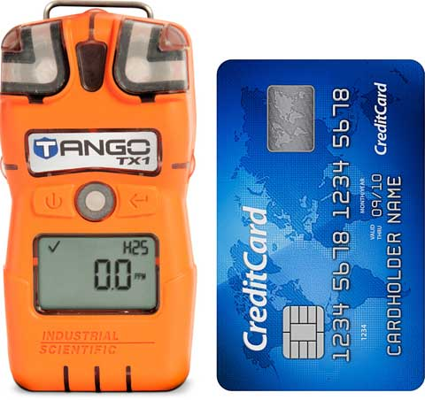 Tango TX1 gas detector size compared to a credit card