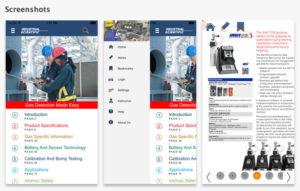 Gas detection training app screenshots