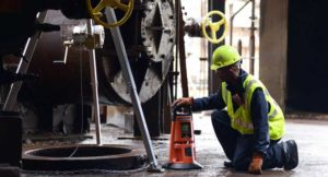 Confined space gas detectors in use